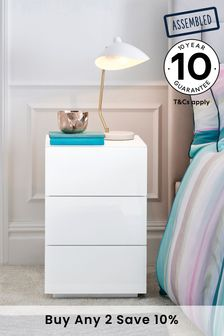 White Sloane 3 Drawer Bedside Table