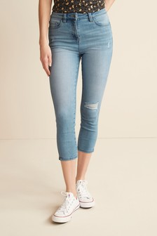 Mid Blue Ripped Skinny Cropped Jeans