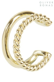 Oliver Bonas Argento Two Row Bar And Twist Gold Plated Ear Cuff