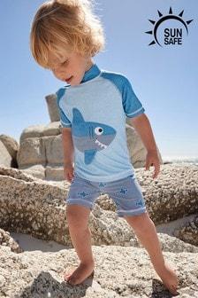 Blue 2 Piece Shark Sunsafe Set (3mths-7yrs)