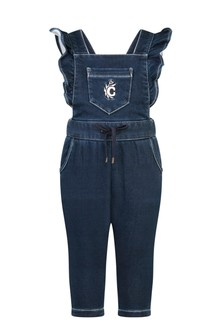 Baby Girls Blue Denim Fleece Jumpsuit