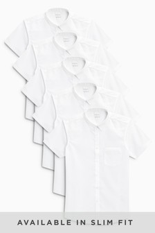 White 5 Pack Short Sleeve Shirts (3-16yrs)