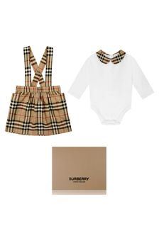 Baby Girls White Cotton Bodysuit & Skirt Gift Set