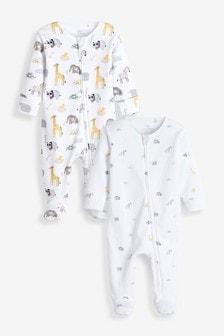 Delicate Safari 2 Pack Zip Sleepsuits (0-2yrs)