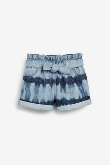 Denim Tie Dye Paperbag Shorts With Tie Belt (3mths-7yrs)
