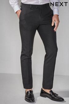 Black Skinny Fit Tuxedo Suit Trousers