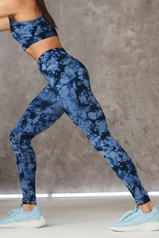 Navy Tie Dye Sculpt And Contour High Waist Sports Leggings