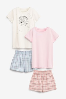 Pink/Blue 2 Pack Woven Metallic Check Short Pyjamas (3-16yrs)