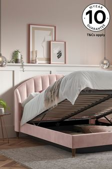 Opulent Velvet Blush Stella Ottoman Storage Bed