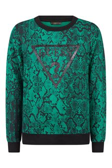 Girls Green Snake Print Cotton Sweater