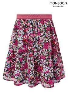 Monsoon Pink Ditsy S.E.W Midi Skirt