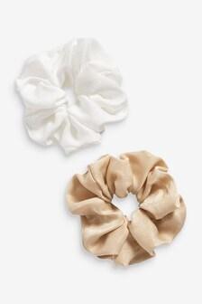 Ivory/Black Satin Scrunchie 2 Pack