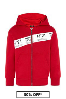 Boys Red Cotton Sweat Top