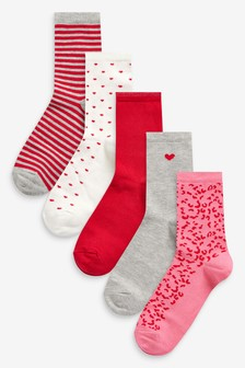 Red/Pink Heart Detail Ankle Socks Five Pack