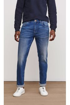 Bright Blue Washed Straight Fit Jeans With Stretch