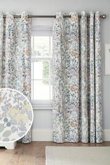 Blue/Green Nordic Floral Print Eyelet Lined Curtains
