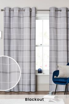 Versatile Check Eyelet Curtains