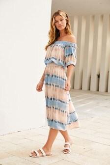 Blue Off The Shoulder Dress