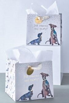 Set of 2 Dog Print Gift Bags