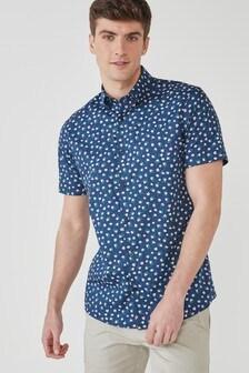 Blue Ditsy Floral Slim Fit Short Sleeve Short Sleeve Trimmed Shirt