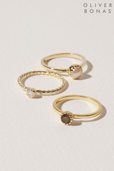 Oliver Bonas Kalpi Twist Band Multi Stone Stacking Ring Set