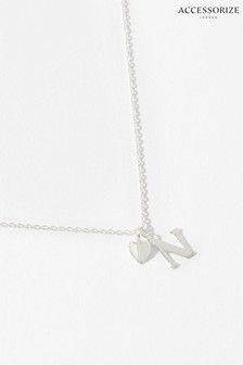 Accessorize Sterling Silver Heart Initial Necklace - N