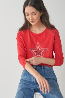 Red Star Raglan Long Sleeve Top