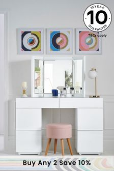 White Sloane Storage Dressing Table / Desk