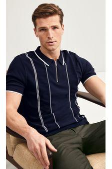 Navy Textured Stripe Premium Zip Polo