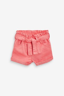 Coral Paperbag Short With Tie Belt (3mths-7yrs)