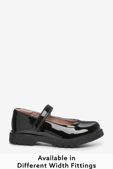 Black Patent Wide Fit (G) Leather Chunky Mary Jane Shoes