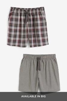 Grey Lightweight Check Pyjama Shorts Two Pack