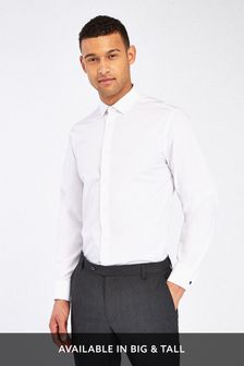 White Regular Fit Double Cuff Easy Care Shirt