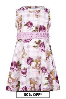 Baby Girls Ivory/Pink Neoprene Teddy Dress