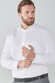 White Plus Fit Single Cuff Easy Care Shirt