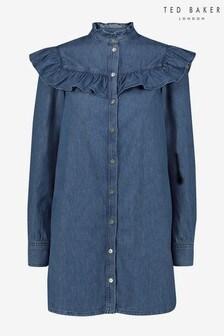 Ted Baker Johanni Denim Ruffle Bib Mini Dress
