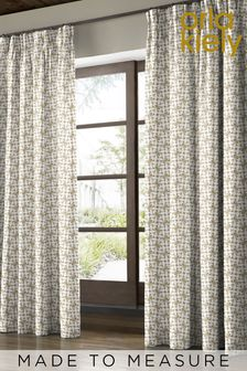 Woven Acorn Cup Moss Green Made To Measure Curtains by Orla Kiely