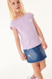 Lilac Slogan Sign Off T-Shirt (3-16yrs)