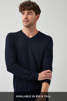 Navy V-Neck Cotton Rich Jumper