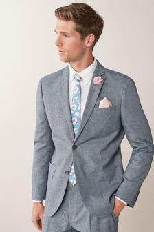 Light Blue Textured Jacket Linen Blend Textured Slim Fit Suit