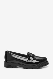 Black Patent Leather Chunky Loafers