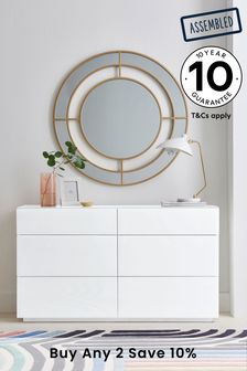 White Sloane Collection Luxe 6 Drawer Wide Chest