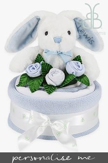Babyblooms Blue Blanket Cake with Personalised Baby Bunny Soft Toy Gift