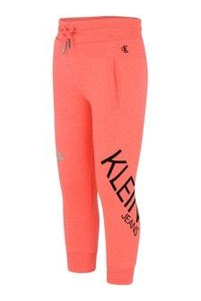 Calvin Klein Jeans Girls Orange Organic Cotton Logo Joggers