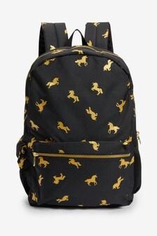 Black/Gold Unicorn Rucksack
