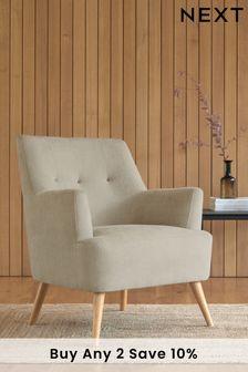 Soft Texture Light Natural Carter Armchair with Light Legs