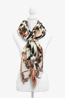 Neutral Pink Floral Print Light Weight Scarf