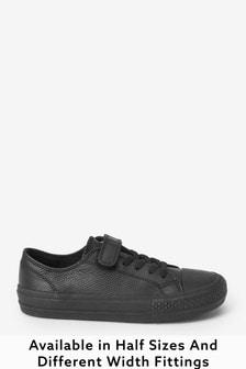 Black Standard Fit (F) Leather Single Strap Elastic Laces Bump Toe Shoes (Older)