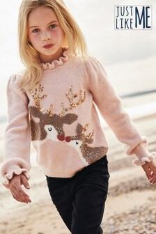 Pink Sequin Reindeer Matching Family Kids Sequin Reindeer Jumper (3-16yrs)