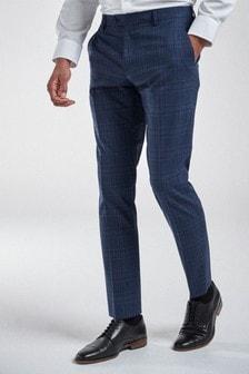 Bright Blue Slim Fit Check Suit: Trousers